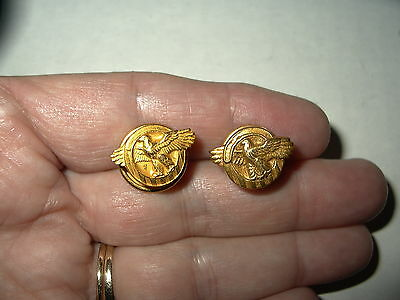 2 Vintage Brushed Goldtone Ruptured Duck US WW II Honorable Discharge Buttons