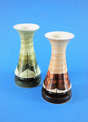 Jersey Pottery - Pair Of Retro Vintage 60S Handpainted Design Vases