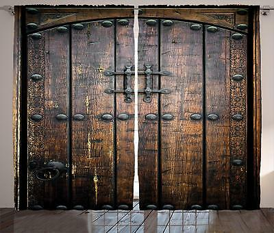 Medieval Castle Ancient Wooden Door Double Satin Printed Curtains 108x84