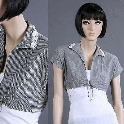 Vintage 30s 40s Pin Up Cropped Top Rockabilly Blk/White Gingham Bolaro S