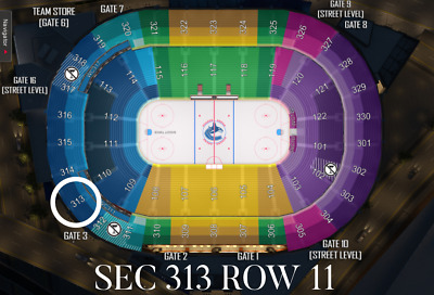 2 Tickets Mar 31 - Columbus Blue Jackets Vs Vancouver Canucks - Sec 313 Row 11
