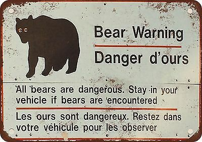 """9"""" x 12"""" Metal Sign - Bear Warning English and French - Vintage Look Reproductio"""
