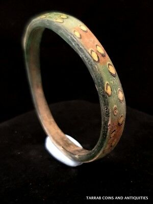 Ancient Byzantine Green Glass Bracelet!! 7Th - 8Th Century Ad. Stunning!