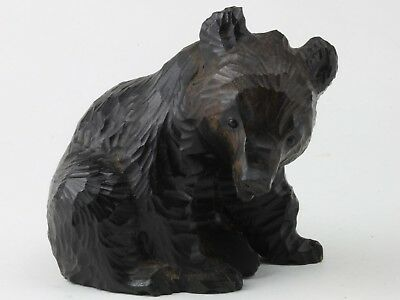 Very Small Bear Statue/ Wood Carving/ Japanese Craft