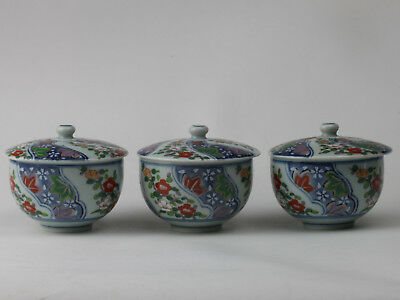 ARITA ware/ 3 Tea Cups with a Lid / Flower Pattern/ Brush Marks/ Japanese Potter