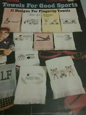 Vintage sports rare Cross stitch patterns booklet  for towels