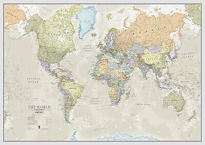Big Giant Large Printed Wallpaper Laminated Front Sheet Classic World Map