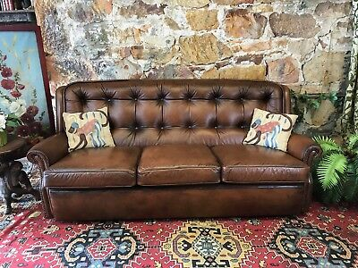 Vintage Chesterfield Leather MORAN BARCELONA 3Seater Sofa-Lounge-Chair