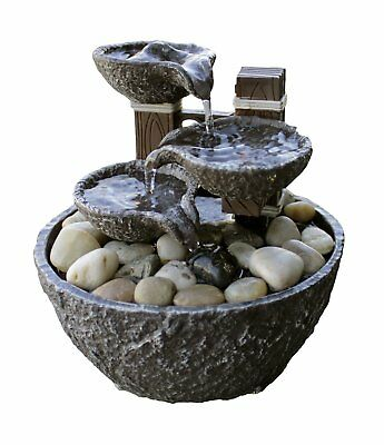 TIERED ROCK FORMATION w/ LED Light Indoor Tabletop Water Fountain ...