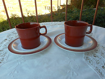 2 Vintage Bessemer Mugs Cups And Saucers