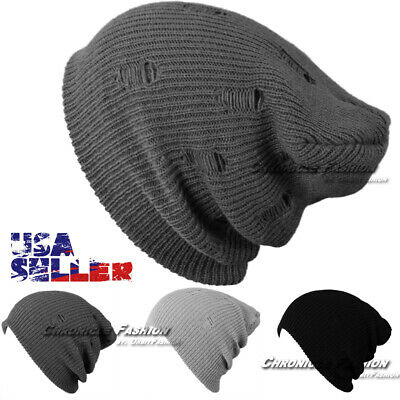 Knit Beanie Baggy Vintage Winter Ski Hat Slouchy Stretch Cap Skull Mens Womens