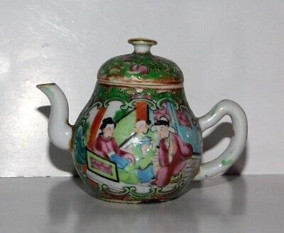 19Th.c Chinese Canton Famille Rose Porcelain Miniature Teapot
