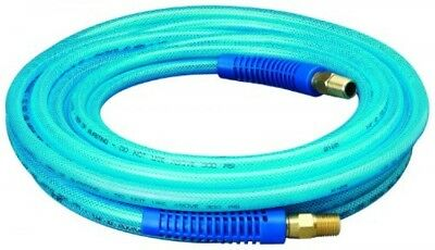 "Amflo 1225E Blue 300 PSI Polyurethane Air Hose 1/4"" x 25' With 1/4"" MNPT Swivel"