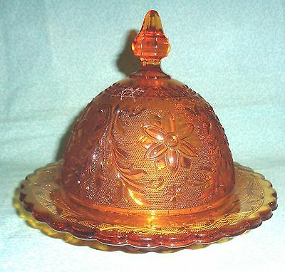 "Vintage Indiana Glass ""tiara"" Royal Amber"" Round Butter Dish W/lid, .perfect"