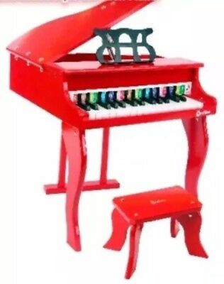 Wooden Grand Piano Black Red Musical Toy Music Instrument Equipment With Stool