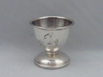 Norwegian solid 830std silver egg cup with rabbit decoration by David Andersen