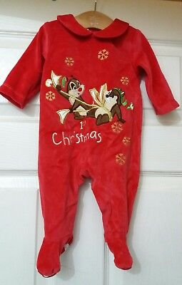 New Disney Babies Red 1st Christmas All In One 0-3 M