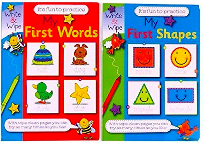 My First Shapes & My First Words Write & Wipe Activity Book Fun Practice UK Gift