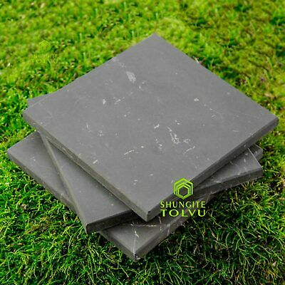 "Plate of powerful stone Shungite Big EMF protection 100x100mm/3,94"" or Pentagon"