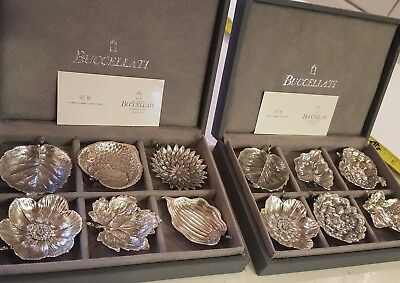 6 Gianmaria Buccellati Sterling Silver place Card Holders Leaf nib nos 925