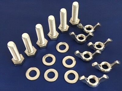 M3 Stainless Steel Bolts Full Thread, Wing Nuts and Washers (Pack of 6, 12 or 24