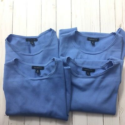 Lands' End Lot of 4 Womens Small 6-8 Blue Lined Ruffle Short Sleeve Sweater Top