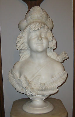 ANTIQUE WHITE CARRERA HAND CARVED MARBLE BUST, SIGNED ca. 1890s