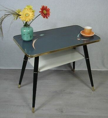 50s 60s Coffee Table, rect 2 Levels, artfully beautified in dark grey & white