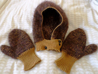 True Vintage 40s 50s 60s Knitted Balaclava & Mittens Set Retro Wartime WWII