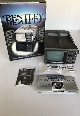 "Vintage Bentley Deluxe Portable 5"" Black & White TV Television B&W Model 100A"