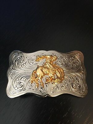 Bucking Bronco and Cowboy Belt Buckle Fancy Small Two Tone