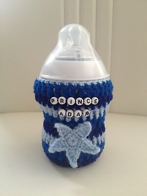 hand crochet PERSONALISED 3D STAR baby bottle cover tomme tippee avent MAM Nuk