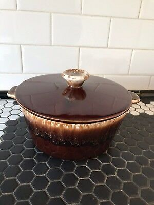 Vintage USA MCP McCoy Pottery BROWN DRIP ROUND CASSEROLE WITH HANDLES & LID