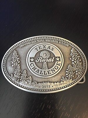 Texas Rural Challenge Belt Buckle Growing Our People 2015 Pewter Color Windmill