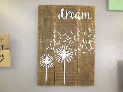 Handcrafted Wood Decorative DREAM DANDELION FLORAL wall Pallet art 11X16""