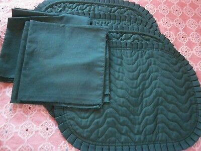 8 pc napkin & machine quilted dark green place mats 13x18 18x18