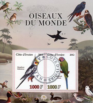 Ivory Coast 2012 CTO Birds of the World Cockatiel Parakeet 2v M/S Parrots Stamps