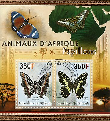 Djibouti 2013 CTO Animals of Africa Butterflies 2v M/S Butterfly Insects Stamps