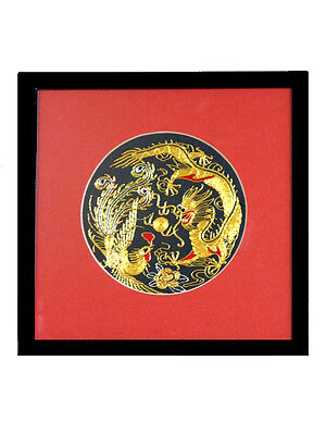 Framed Silk Embroidery - 12 cm - Dragon and Phoenix