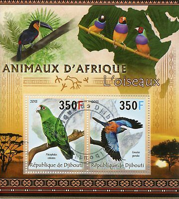 Djibouti 2013 CTO Animals of Africa Birds 2v M/S Parrots Rollers Stamps