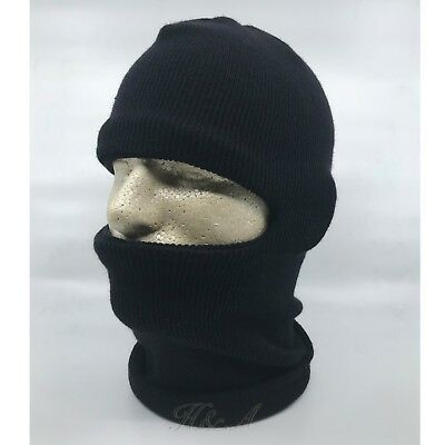 26ce6d49616 Double Ply Knit One hole Ski Face Mask Balaclava Beanie Stocking Hat Cap  Black