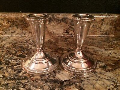 Vintage Pair Preisner Sterling Silver Weighted Candlesticks # 819