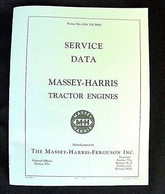 Massey Harris Tractor Engine Service Data Manual 21 22 23 30 33 44 55 Specs MH