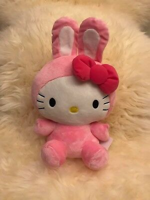 """NWT UFO Catcher Round 1 Exclusive Hello Kitty Plush 14"""" Pink Bow Tie Bunny Ear"""