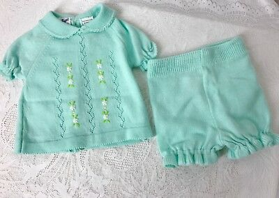 VTG 0-3 Mo NB Little Angels 2 Piece Aqua Blue Outfit With Tiny Yellow Flowers