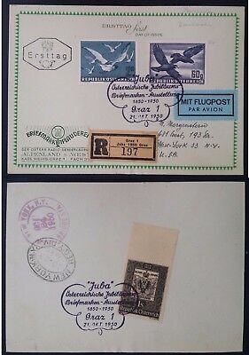 RARE 1950 Austria Registd Airmail Birds FDC with Stamp Centenary Exhbtn cache