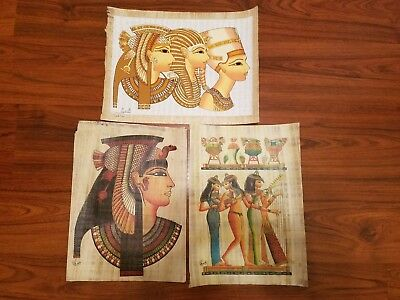 Ancient Egyptians Kings & Queens Papyrus Hand Paints --FROM EGYPT --Lot C126