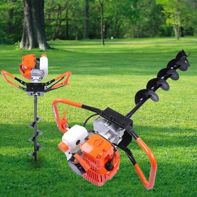 """52cc 2.2HP Powered Gas Post Hole Digger Earth Digger Auger W/ 10"""" Bits Drill OY"""