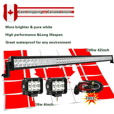 "42inch Led Work Light Bar Combo + 4"" CREE Pods Offroad Fog Truck SUV Jeep ATV 40"