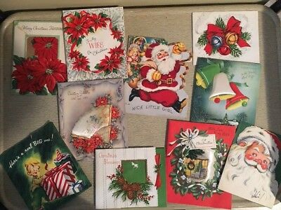Lot of 10 Vintage 1950's Christmas Cards
